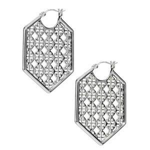 Tory Burch Logo Silver Hexagon Hoop Earrings